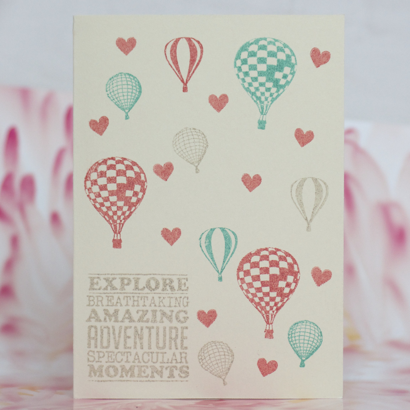 Vintage hot air balloon love card