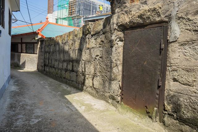 Stone wall with metal door, Mokpo, South Korea
