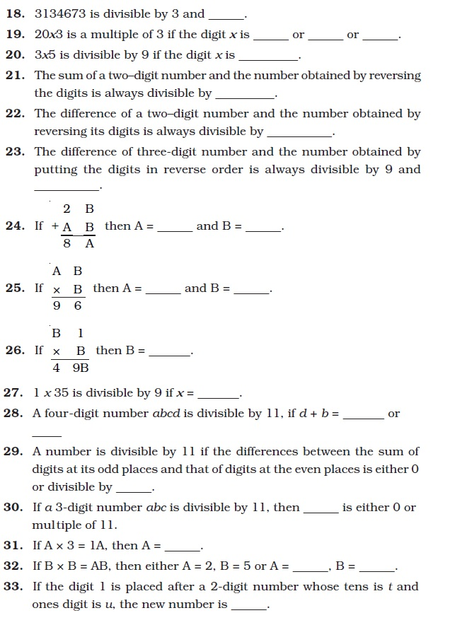Class 8 Important Questions For Maths Playing With