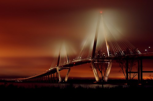 bridge sky orange sc fog night clouds river point photography arthur long exposure pentax south cable landmark jr mount charleston nighttime cooper carolina patriots iconic pleasant stayed ravenel 50135 k5ii