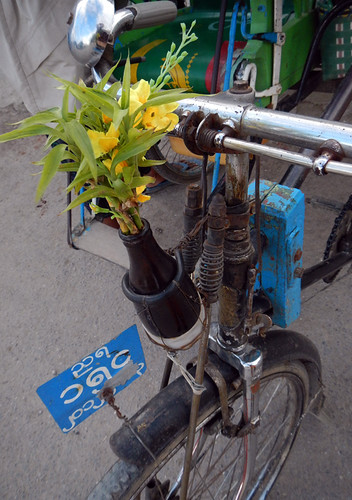 Bicycle Decorated with a Bouquet Flowers on Inle Lake