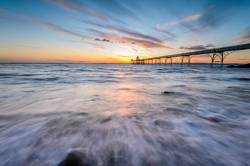 sunset seascape pier rocks somerset clevedon clevedonpier