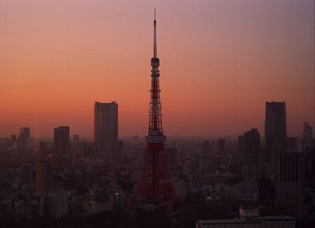 Tokyo Tower of the setting sun