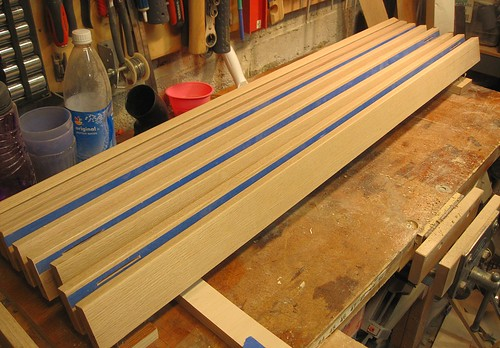 Staining: A rack to hold the uprights