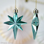 Mettalic mint star tree decorations