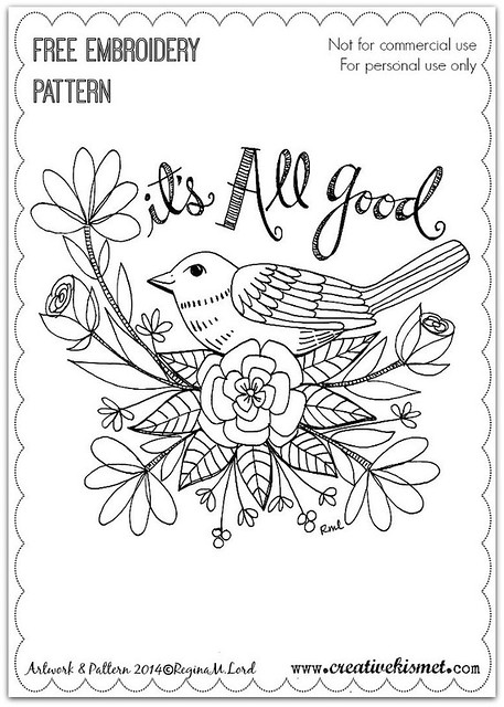 It's all good - free embroidery pattern by Regina Lord
