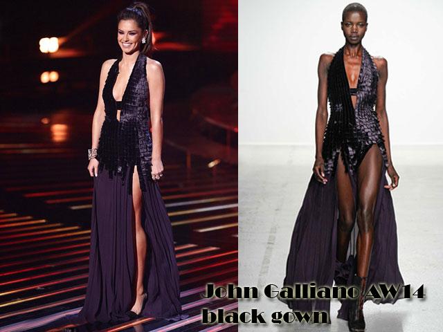 John-Galliano-Aw14-black-gown,Cheryl Fernandez-Versini, black gown, John Galliano gown, John Galliano Aw14, black cut-out gown by John Galliano