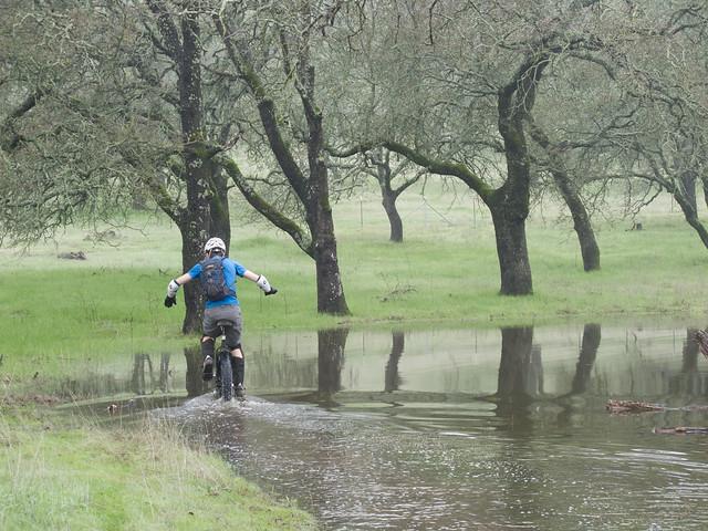 Josh riding the submerged trail
