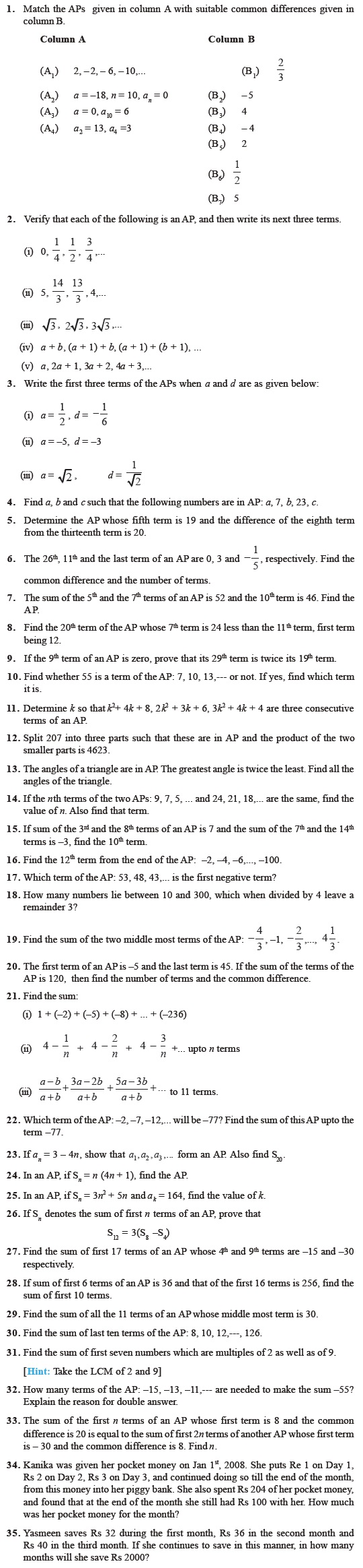 Class 10 Important Questions for Maths – Arithmetic Progressions