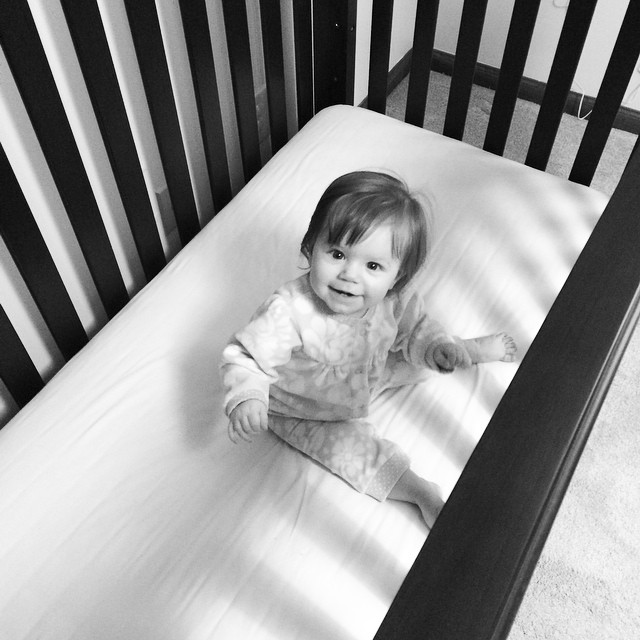Daddy dropped big girl's mattress this weekend. What happened to my baby?!? ??