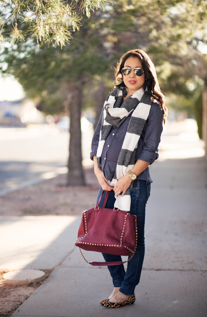 cute & little blog | petite fashion | maternity baby bump pregnant | forever 21 striped scarf, loft mixed media blouse, citizens of humanity racer maternity jeans, ivanka trump tizzy leopard flat, ray ban mirrored aviators, burgundy barrel bag | third tri