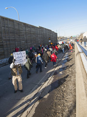 Black Lives Matter march approaches I-35