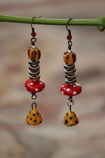 Spotted and Striped Porcelain Beads, With Copper Disks, Earring Set E-0152