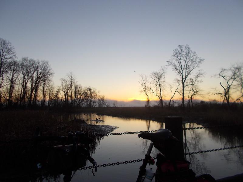Sunrise, Fogbank and Bike