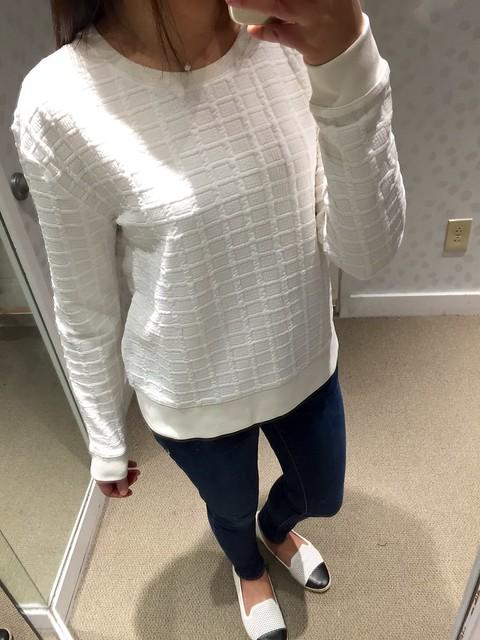 LOFT Grid Jacquard Sweatshirt, size XS