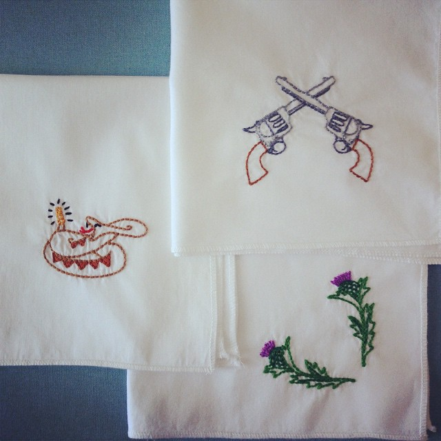 New embroidered hankies for Dollar. The one with thistles is an homage to Braveheart.