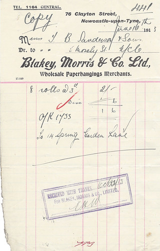 "A handwritten invoice on notepaper printed with the address of Blakey, Morris & Co. Ltd., Wholesale Paperhangings Merchants, at 76 Clayton Street, Newcastle-upon-Tyne, and stamped ""received with thanks""."