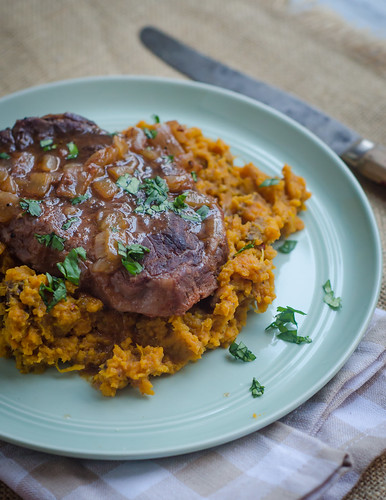 Bourbon-Braised Steaks with Chipotle Sweet Potatoes (crock pot)