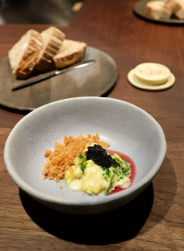 soft scramble - potato, caviar, herbs, bread & butter