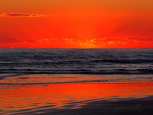 sunset sea beach horizon pacificocean