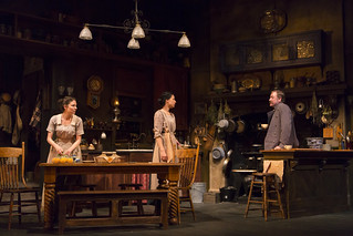 MacKenzie Meehan, Kathleen McElfresh, and Christopher Donahue in the Huntington Theatre Company production of the moving Irish drama The Second Girl by Ronan Noone, directed by Campbell Scott, playing January 16 – February 21, 2015 at the South End/Calder