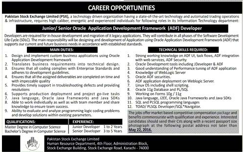 Oracle Application Developers Required Pakistan Stock Exchange