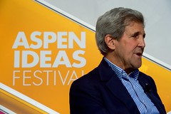 U.S. Secretary of State John Kerry, flanked by Aspen Institute President and Chief Executive Officer Walter Isaacson, participates in a question-and-answer question session after addressing attendees at the Aspen Ideas Festival on June 28, 2016, at the Greenwald Pavilion at the Aspen Meadows Resort in Aspen, Colorado. [State Department photo/ Public Domain]