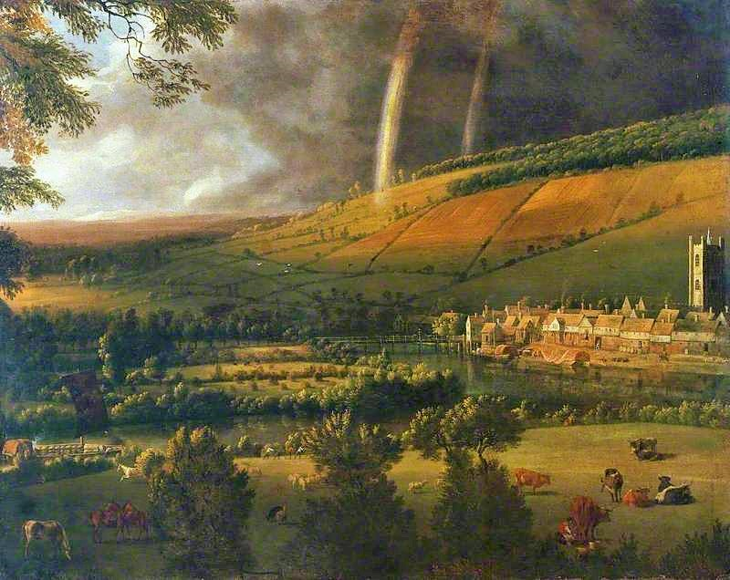 Landscape with Rainbow -- Henley-on-Thames by Jan Siberechts - circa 1690