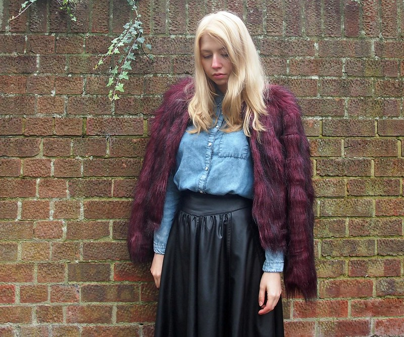 Fun Fur, Burgundy, Sainsbury's, Texture Clash, AW14, How to Wear, Styling Inspiration, Outfit Ideas, Sam Muses, UK Fashion Blog, London Style Blogger