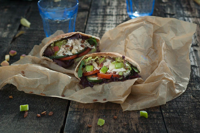 easy lunch chicken salad pita pocket