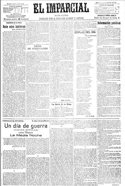 14l31 Imparcial del 14 octubre 1916 Valle Inclán escriben Gran Guerra Uti 425