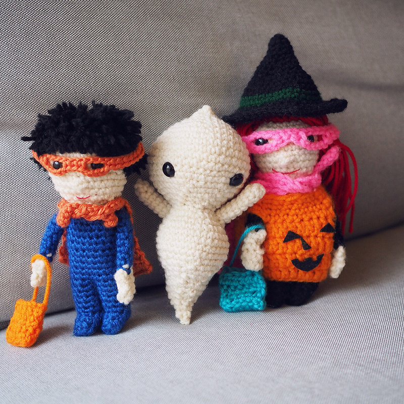 Trick or treaters and a ghost done for Halloween