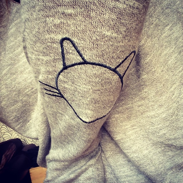 #todayimwearing @asos cat elbow patch jumper. Oh yes I am.
