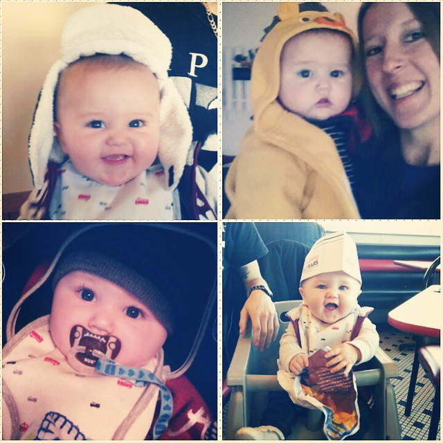 Because I miss those squishy cheeks! #Chansler #BabyBearHat #lionjacket #steaknshake