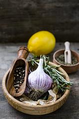 the set of spices: pepper lemon garlic rosemary