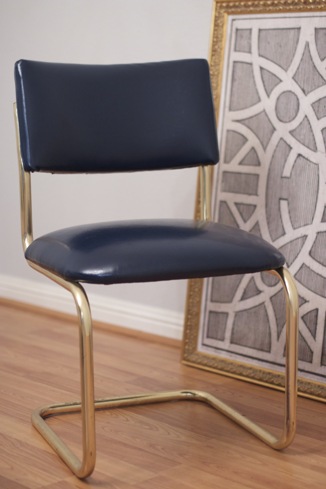 navy blue and brass dining room chair