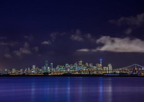 sanfrancisco california city sky urban color reflection skyline night dark bay nikon december view purple over lavender baybridge bayarea vista eastbay 80 alameda alamedacounty d800 2014