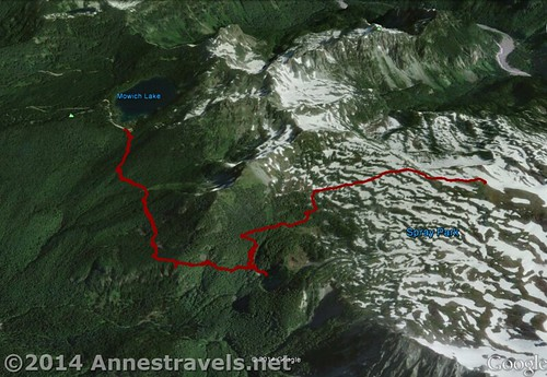 Visual map of the Spray Park Trail, from Mowich Lake to the hill above Spray Park. Up is north. Mt. Rainier National Park, Washington