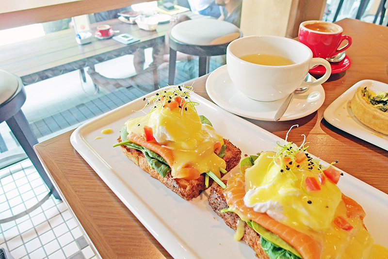 egg Benedict with salmon Artisan Boulangerie Co.