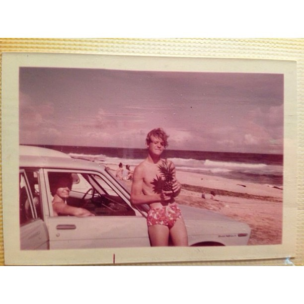 Dad at 14. On a beach (next to grandma in the car). In Hawaii. With a pineapple. #alohagram #latergram @btska @terryreid55 @allisonareid @kimberlyjolie