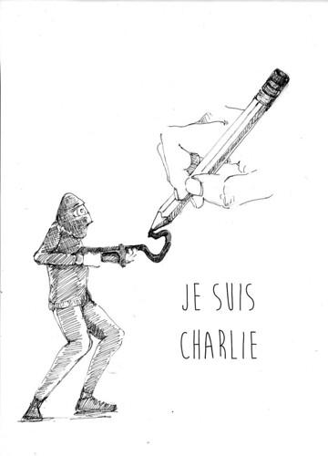 Nous sommes Charlie, par Caroline Lee - Les étudiants du CESAN rendent hommage