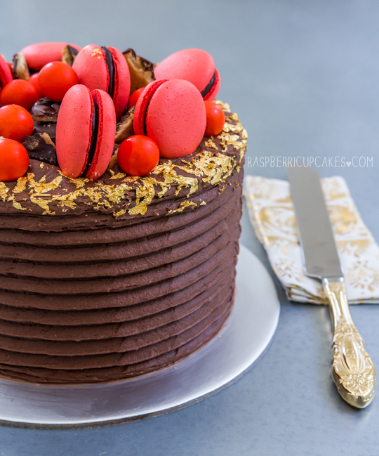 Jaffa Layer Cake with Macarons