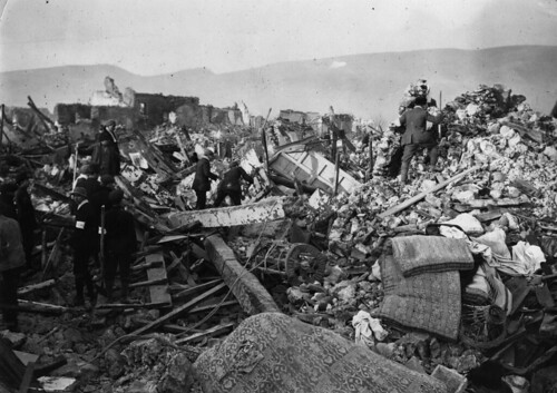 Avezzano, Italy, Earthquake of January 13, 1915. Scenes of Avezzano, Italy, Earthquake. Every street was like this