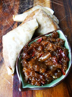 Pineapple chutney with lentil samosas