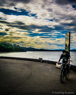 Cycling in Crammond at Sunset
