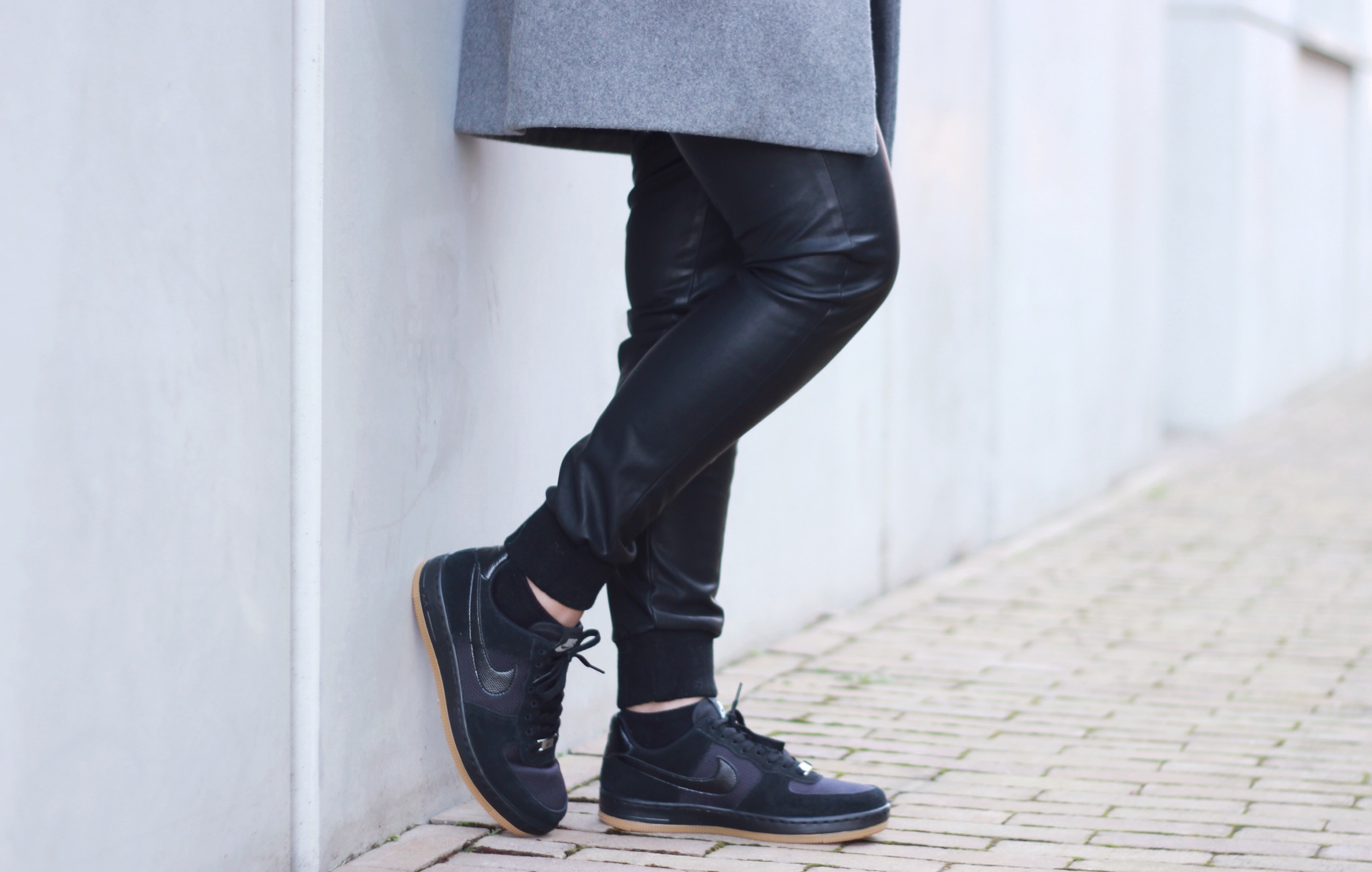 Outfit, Nike air force 1, leather joggers, street wear
