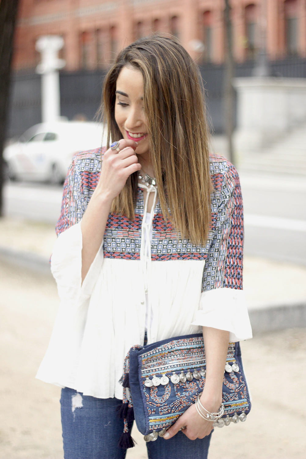 embroidered jacket jeans heels accesories spring style fashion outfit08