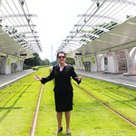 Lord Mayor Clover Moore at Pazhou light rail station, Guangzhou