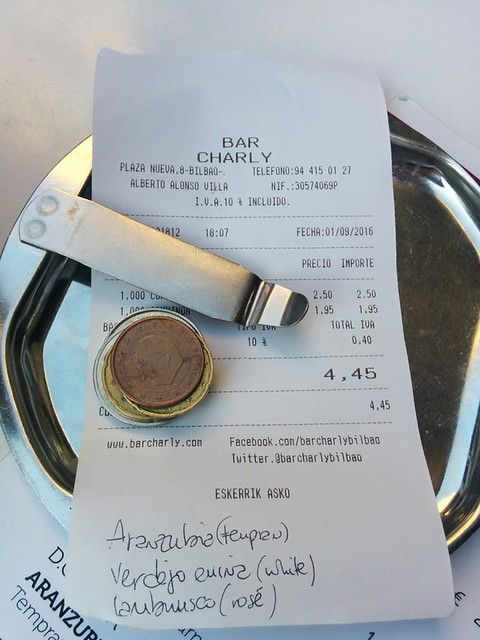 our bill ~ $2 for a glass of wine
