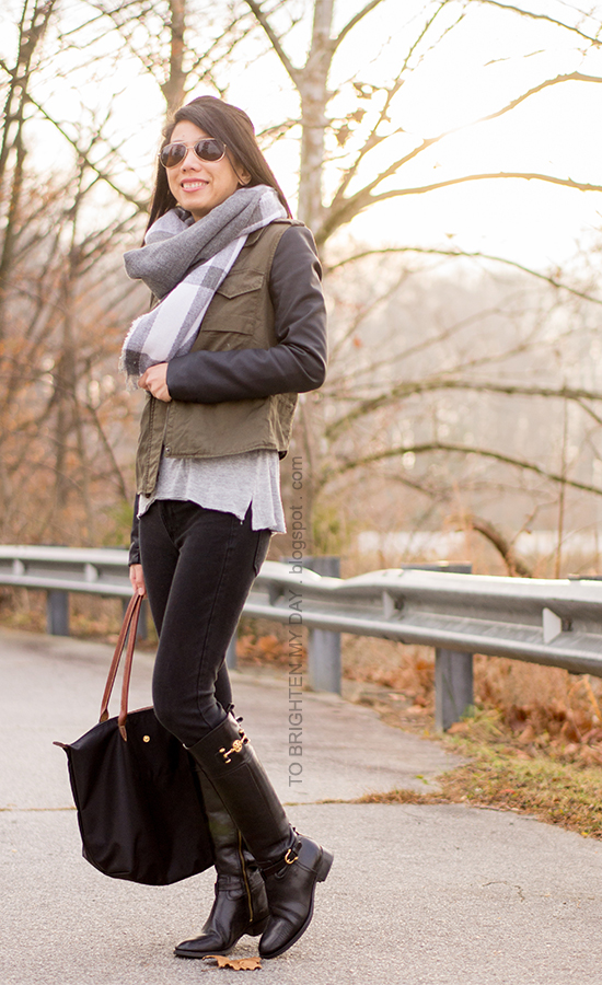 oversized plaid scarf, leather sleeved military jacket, black boots
